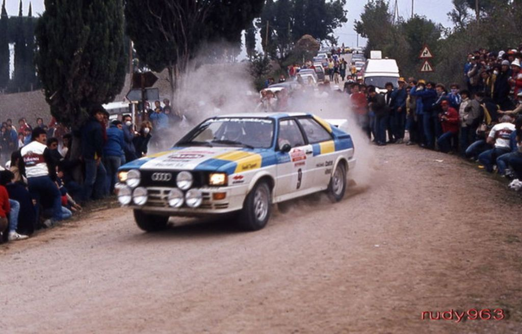 October 1982, Stig Blomqvist comes 1st in his Quattro with Hannu Mikkola just behind in 2nd at San Remo Rally.