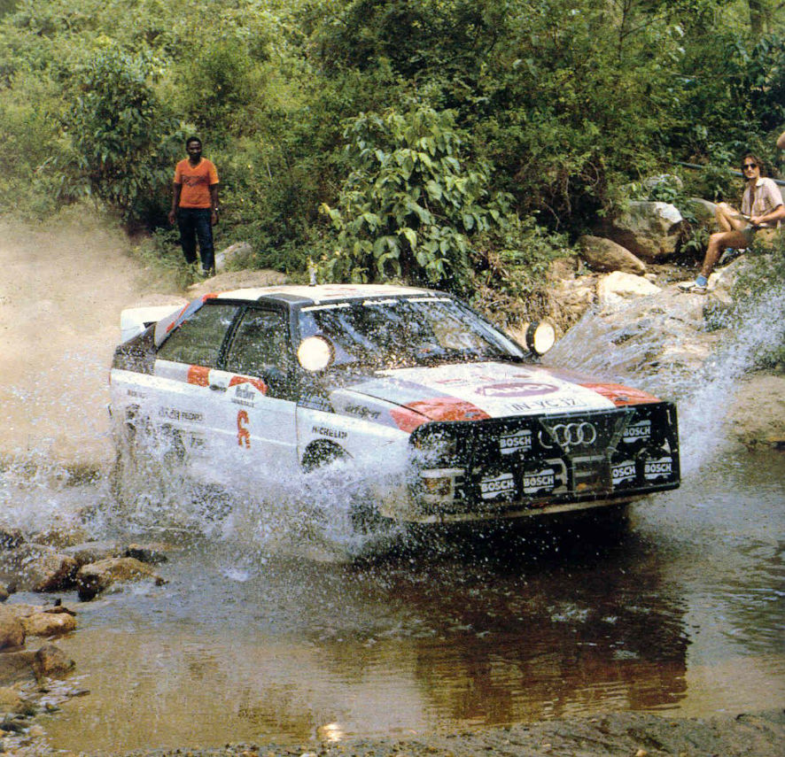 Malboro Safari Rally. Hannu Mikkola and Arne Hertz come 2nd, followed by Michele Mouton in 3rd in the Audi Quattros.