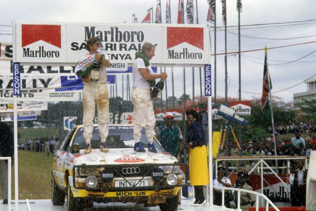 Audi return to the World Rally Championship following the ban of Group B cars. Hannu Mikkola wins the testing Safari Rally in Kenya with an Audi 200 Quattro saloon, followed by Walter Rohrl in 2nd, also in an Audi 200 Quattro Saloon.